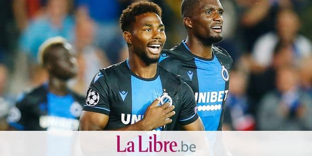 Club's Emmanuel Bonaventure Dennis celebrates after scoring during a game between Belgian soccer team Club Brugge and Austrian club LASK Linz, Wednesday 28 August 2019 in Brugge, the return match in the play-offs of the UEFA Champions League, after a 0-1 victory of Club in the first leg. BELGA PHOTO BRUNO FAHY