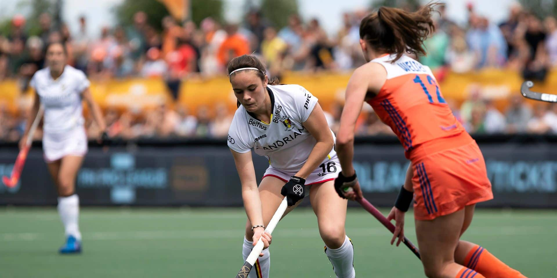 Belgium's Tiphaine Duquesne pictured in action during a field hockey game between The Netherlands and Belgium's Red Panthers, Sunday 09 June 2019 in 's-Hertogenbosch, game 12/16 of the women's FIH Pro League competition. BELGA PHOTO KRISTOF VAN ACCOM