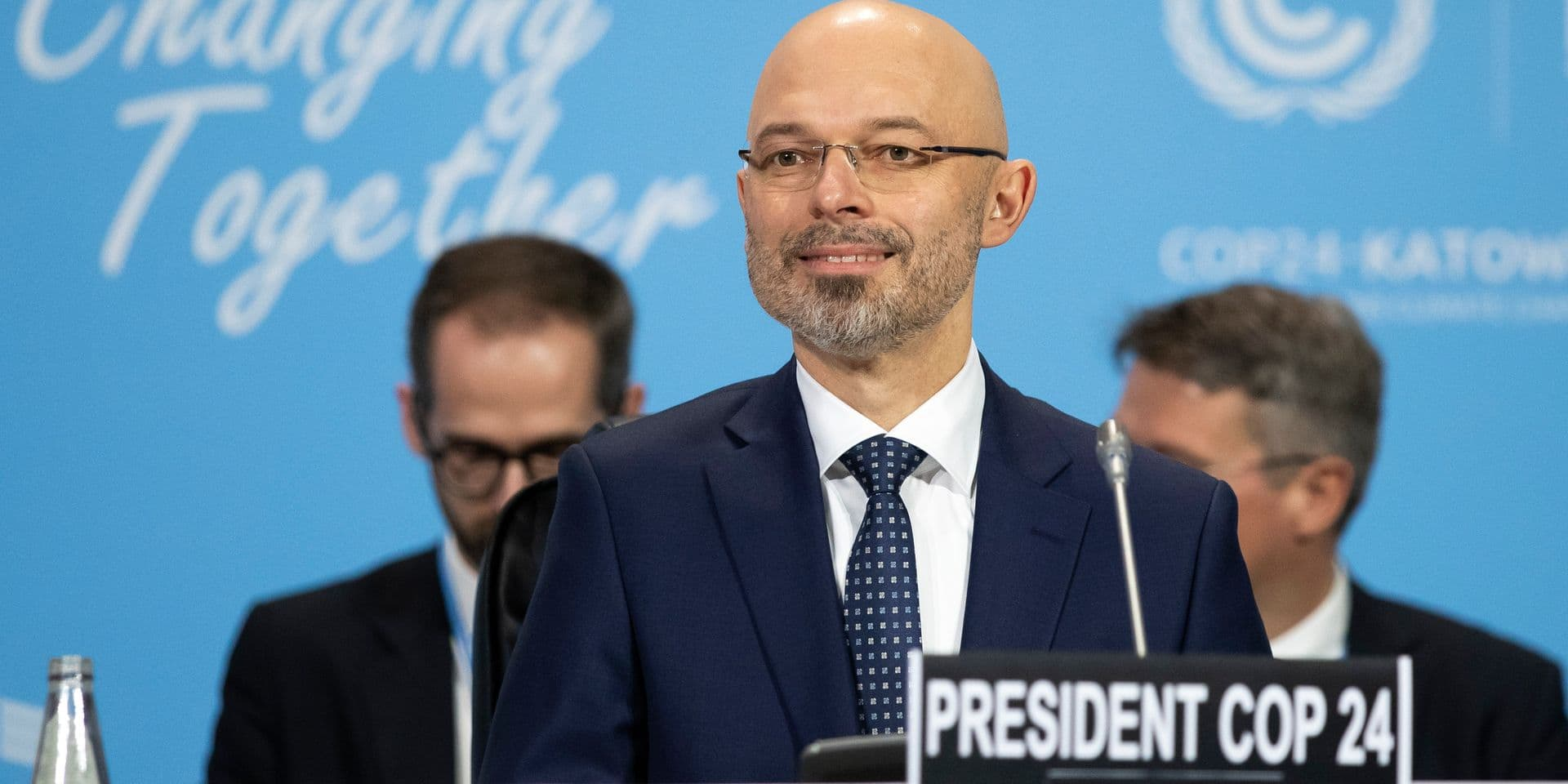Michal Kurtyka, Polish Deputy Minister of the Environment and President of the COP24, looks on during the COP24 United Nations Climate Change Conference in Katowice, Poland, Monday, Dec. 3, 2018. (Peter Klaunzer/Keystone via AP)