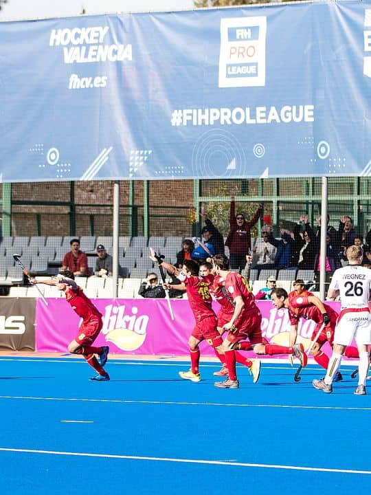 Spain's team celebrates after scoring during a hockey game between Belgian national team the Red Lions and Spain, game 1/16 in the group stage of the FIH Pro League men tournament, Saturday 19 January 2019 in Valencia, Spain. BELGA PHOTO SEBASTIEN TECHY
