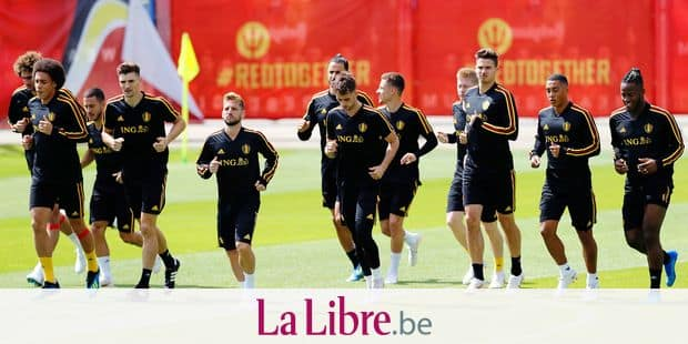 Belgium players warm up during the 2018 soccer World Cup the day before the quarter final World Cup soccer match between Belgium and Brazil at the Guchkovo Stadium in Dedovsk, outside Moscow, Russia, Thursday, July 5, 2018. (AP Photo/Hassan Ammar)