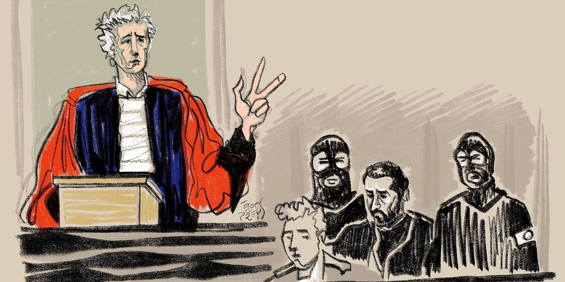 This drawing by Igor Preys shows Belgian public prosecutor Yves Moreau during a session in the trial regarding the terrorist attack at the Jewish Museum in Brussels, at the Brussels Justice Palace, in Brussels, Monday 25 February 2019. Nemmouche and Bendrer are accused of committing a terrorist attack on 24 May 2014 at the Brussels Jewish Museum, killing four people. BELGA PHOTO IGOR PREYS