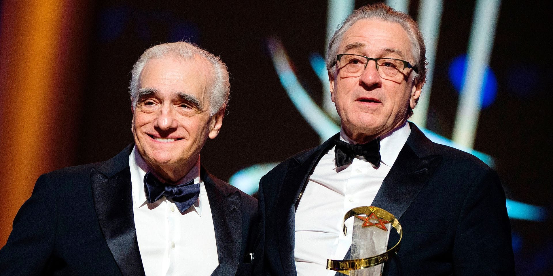 US actor Robert de Niro (R) poses with a Tribute award, next to US Director Martin Scorsese during the 17th Marrakech International Film Festival on December 1, 2018. (Photo by FADEL SENNA / AFP)