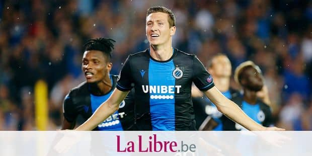 Club's Hans Vanaken celebrates after scoring during a game between Belgian soccer team Club Brugge and Austrian club LASK Linz, Wednesday 28 August 2019 in Brugge, the return match in the play-offs of the UEFA Champions League, after a 0-1 victory of Club in the first leg. BELGA PHOTO BRUNO FAHY