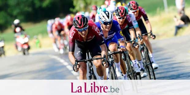 ALBI, FRANCE - JULY 15 : MOSCON Gianni (ITA) of TEAM INEOS and LAMPAERT Yves (BEL) of DECEUNINCK - QUICK - STEP are leading the peloton during stage 10 of the 106th edition of the 2019 Tour de France cycling race, a stage of 217,5 kms with start in Saint-Flour and finish in Albi on July 15, 2019 in Albi, France, 15/07/2019 ( Motordriver Kenny Verfaillie - Photo by Nico Vereecken / Photo News
