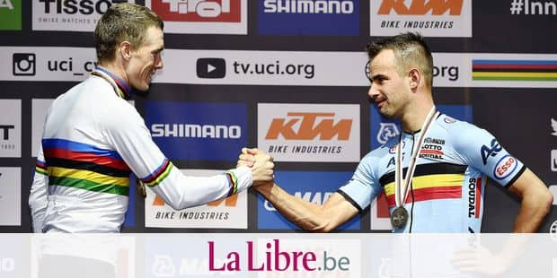 Australian gold medalist Rohan Dennis and Belgian bronze medalist Victor Campenaerts celebrate on the podium of the men's elite individual time trial race at the 2018 UCI Road World Championships Cycling in Innsbruck, Tirol, Austria, Wednesday 26 September 2018. This year's Worlds are taking place from 22 to 30 September. BELGA PHOTO ERIC LALMAND