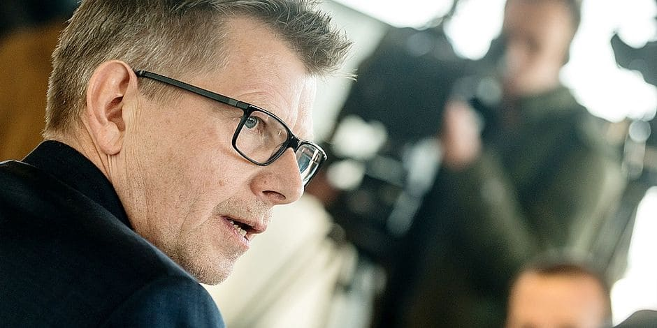 Belgium , Brussels , Feb 07, 2018 - Press conference of Eurowings CEO Thorsten Dirks after an Extraordinary Works Council of Brussels Airlines, including a meeting with the Eurowings CEO Copyright Danny Gys / Reporters Reporters / GYS