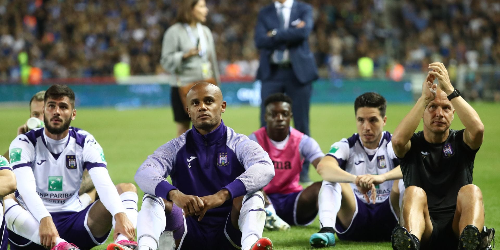 Anderlecht's Vincent Kompany looks dejected after a soccer match between KRC Genk and RSC Anderlecht, Friday 23 August 2019 in Genk, on the fifth day of the 'Jupiler Pro League' Belgian soccer championship season 2019-2020. BELGA PHOTO VIRGINIE LEFOUR