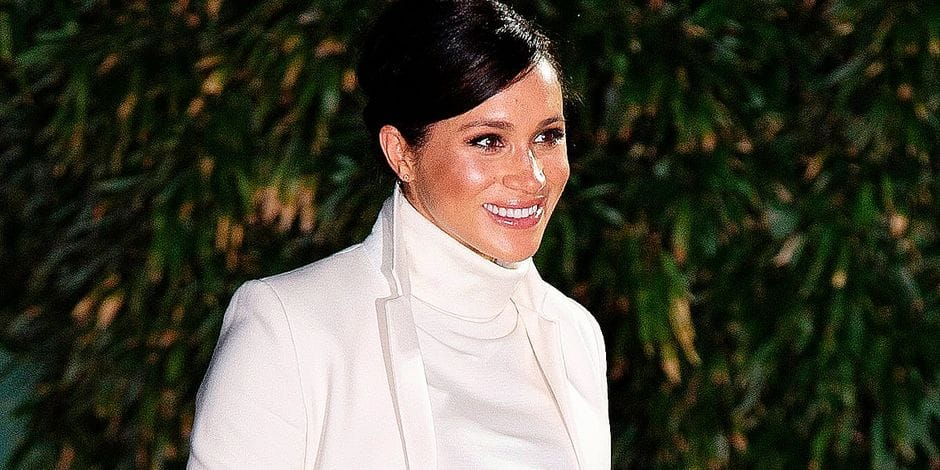 Meghan, Duchess of Sussex arrives at the Natural History Museum in London on February 12, 2019. - The Duke and Duchess viewed the gala performance of The Wider Earth. The Wider Earth is a theatrical production about the young Charles Darwin's expedition on HMS Beagle. (Photo by Niklas HALLEN / AFP)