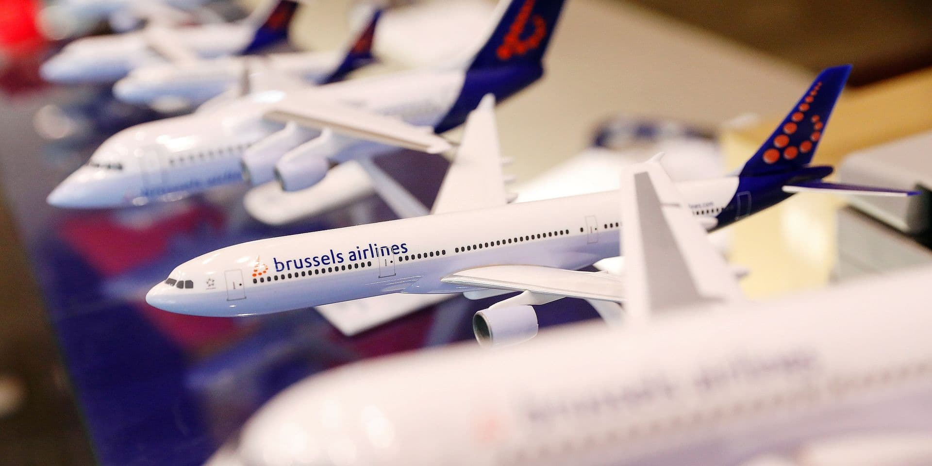 Illustration picture shows the model of an aircraft during the negotiations concerning the integration of Brussels Airlines in the Eurowings Group, division of Lufthansa, Monday 09 July 2018, at Brussels airlines headquarters in Diegem. BELGA PHOTO THIERRY ROGE
