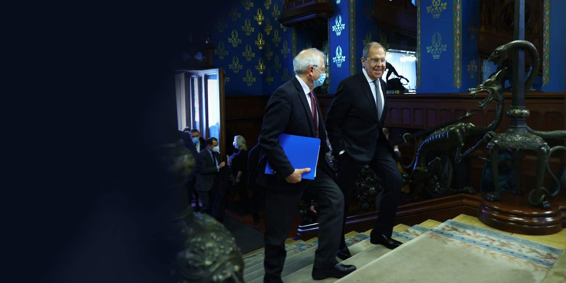 Le Haut représentant pour la politique étrangère européenne, Josep Borrell, a rencontré le chef de la diplomatie russe, Sergueï Lavrov, le 5 février à Moscou.
