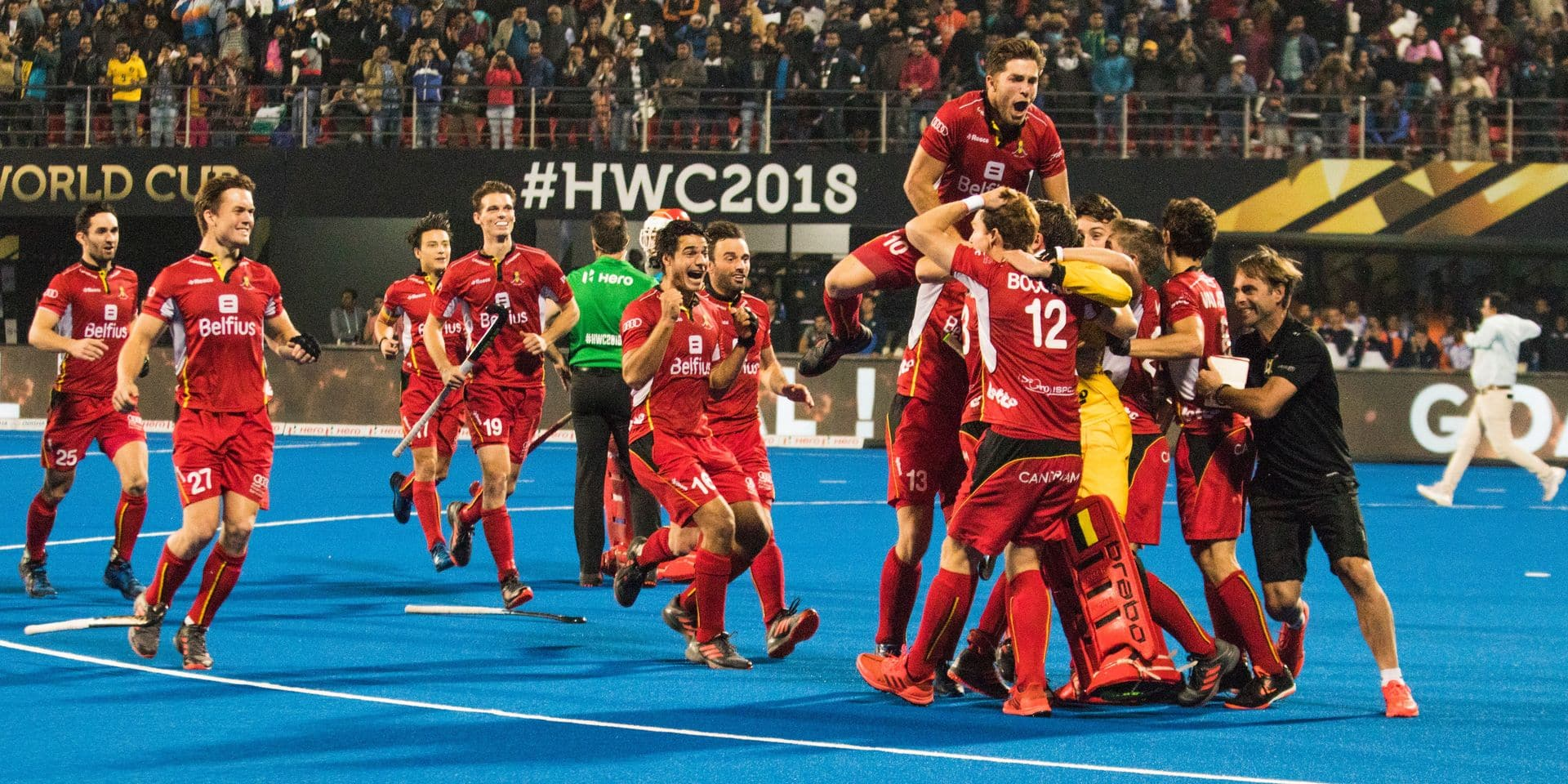 Belgium Red Lions celebrate their world hockey championship title the final game between Belgian national hockey team the Red Lions and The Netherlands in Bhubaneswar, India, at the hockey World Cup, Sunday 16 December 2018. BELGA PHOTO SEBASTIEN TECHY
